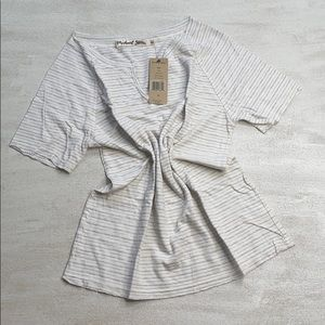 MICHAEL STARS Linen Stripe Shirt in Chalk
